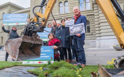 Le lancement de la double initiative à Berne le 26 mars 2019 en images